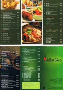 Take away menu